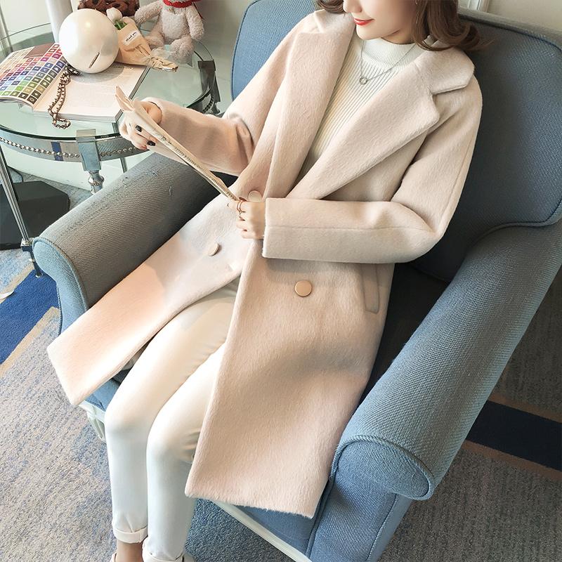 阿尔巴卡毛呢大衣女中长款森系2018新款流行小个子呢子外套