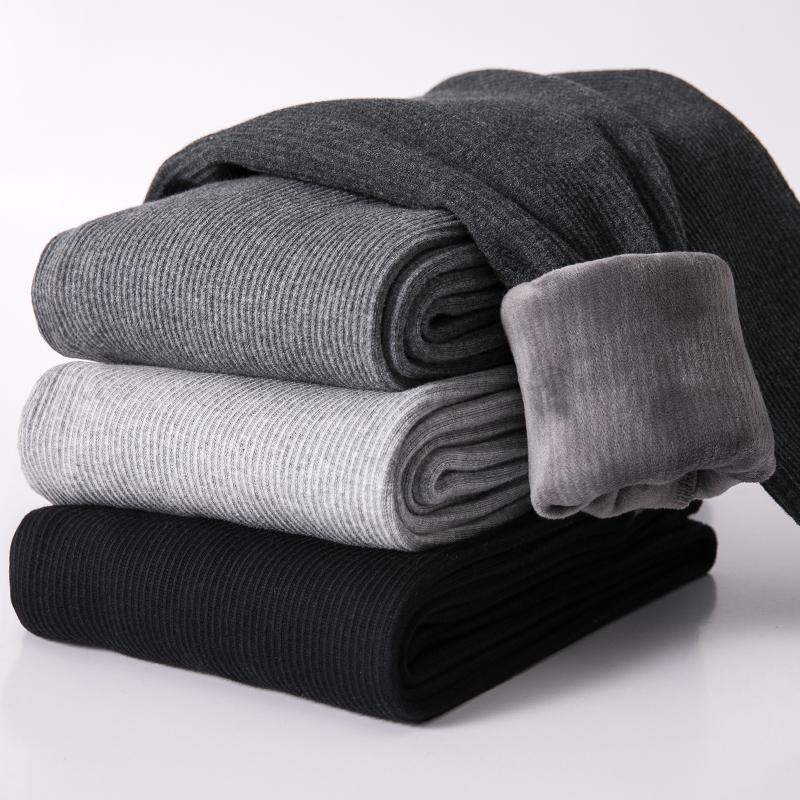 打底裤女冬加绒外穿加厚2018新款黑灰色螺纹高腰显瘦大码保暖棉裤