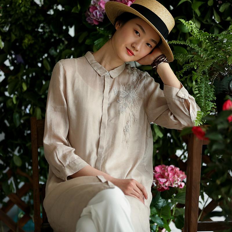 牧衣原创设计女装2018夏季新款宽松长款衬衫绣花文艺衬衣女 刺桐