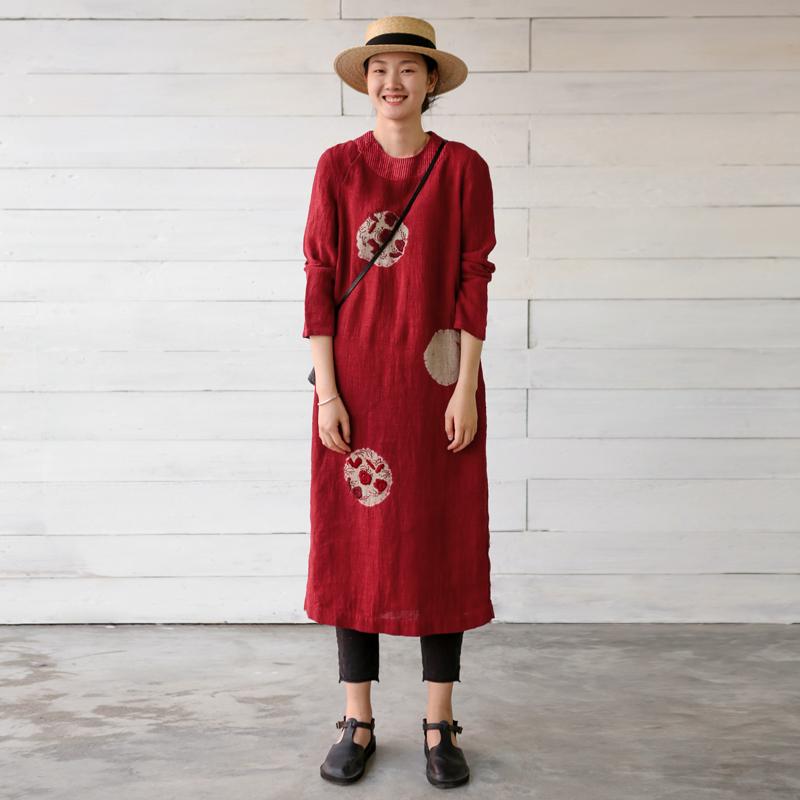 牧衣原创设计女装2018春秋新款宽松亚麻红色长袖连衣裙 风雨野渡