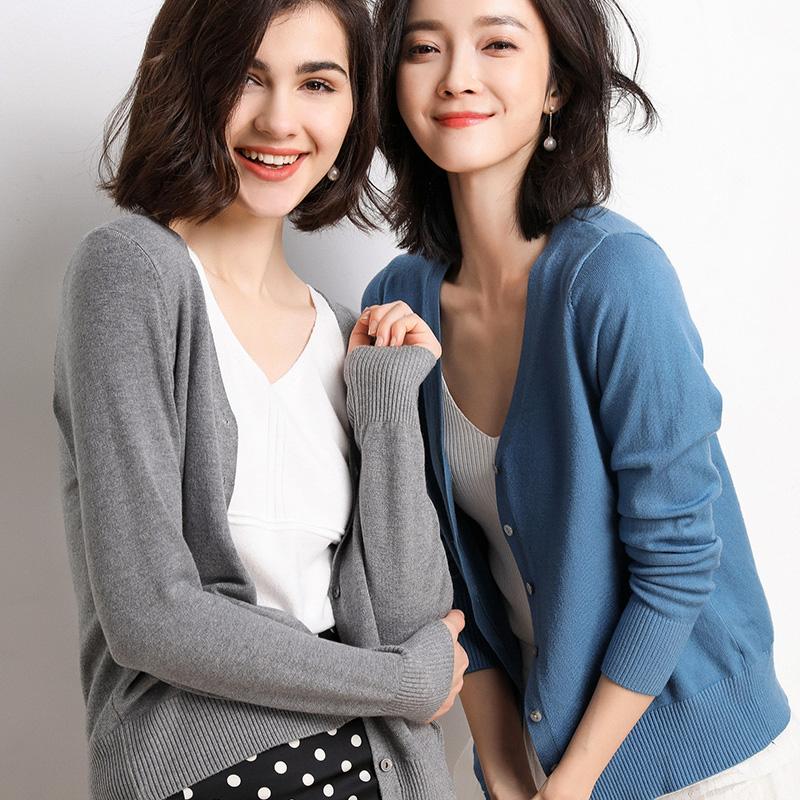 2019春秋季针织开衫女薄短新款宽松V领长袖韩版外搭毛衣外套
