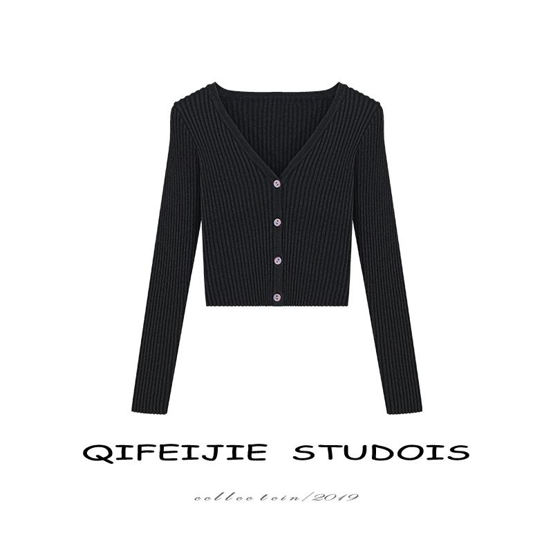 针织开衫女夏纯黑色螺纹紧身短款高腰露脐V领外穿搭ins小外套上衣