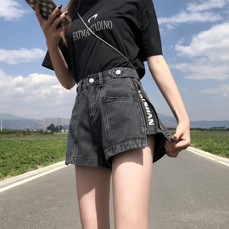 烟灰色阔腿高腰A字牛仔短裤女2020夏新款宽松复古显瘦工装热裤潮
