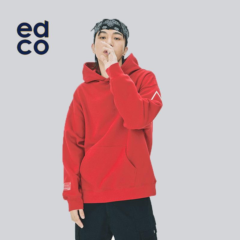 EDCO艾德克2019秋冬新款男女卫衣套头连帽宽松休闲印花潮流外套