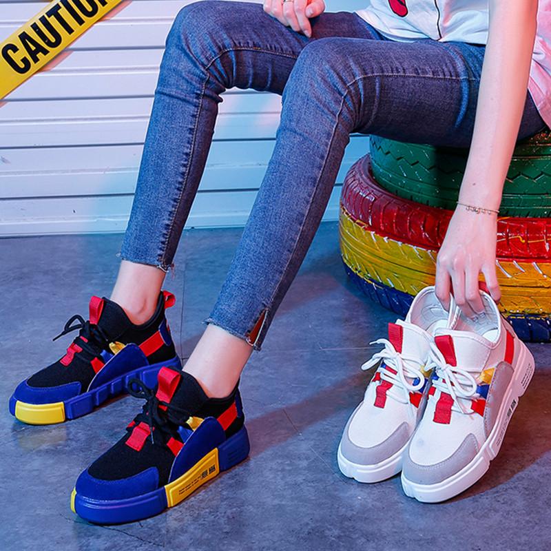 2018夏季白色运动跑步鞋子韩版ulzzang原宿百搭女网面透气老爹鞋