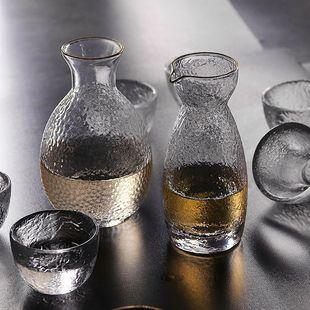 日式手作无铅玻璃酒具套装家用锤纹清酒酒壶冰酒温酒器黄酒白酒杯