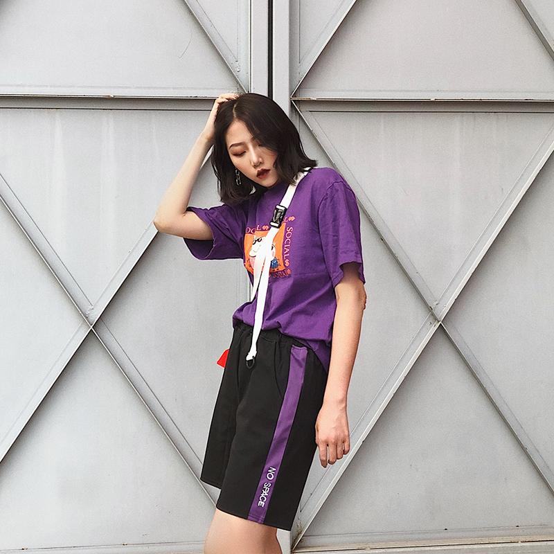 短裤女夏季2019新款学生宽松韩版休闲bf风高腰外穿五分裤运动裤子