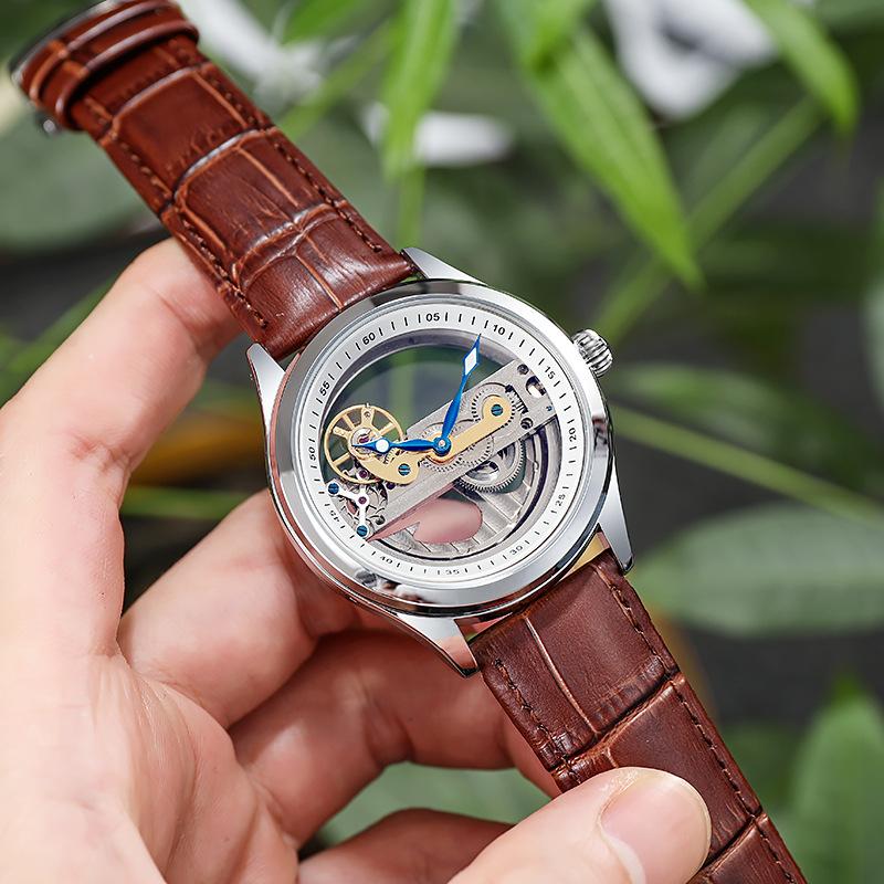 正品狄凡尼全自动机械表男士手表全透空品牌时尚流行防水夜光手表