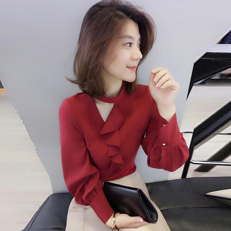 欧洲站秋装女装2019新款时尚酒红色修身长袖设计感心机衬衫上衣女