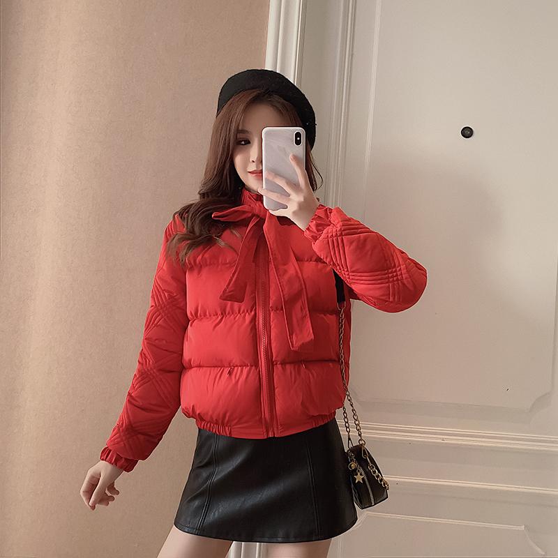 复古绑带棉服女冬季2019新款韩版小个子面包服宽松百搭红色小棉袄-恒润美服饰-