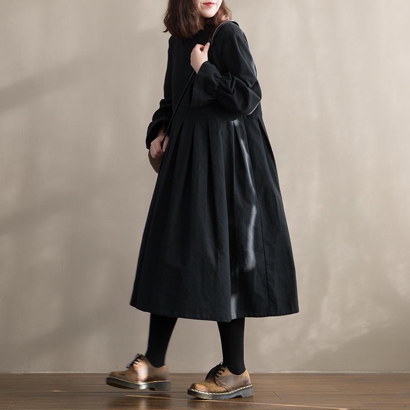 素旧安歌 荷叶袖休闲百褶裙 2018秋装文艺复古A型大码黑色连衣裙