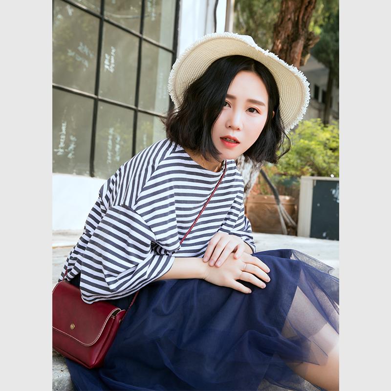 素旧安歌原创设计宽松圆领上衣 2018夏季文艺蓝白条纹T恤女短袖