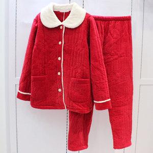精雅珊瑚绒夹棉睡衣女三层加厚加绒秋冬大红高品质家居服两件套装