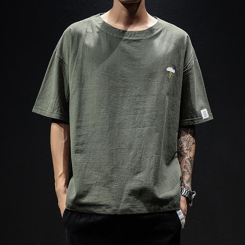 夏季ins短袖T恤男士宽松日系潮上衣大码5分半袖纯棉胖子中国风丅