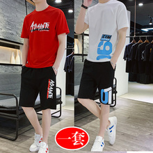 Summer new Hooded Sweater men's 15-year-old leisure trend sports suit junior students SHORTS SET 18