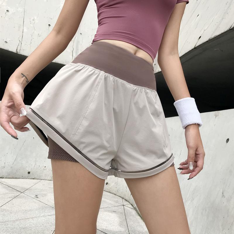 dcw高腰宽松运动短裤女防走光含内衬透气速干弹力跑步健身瑜伽裤