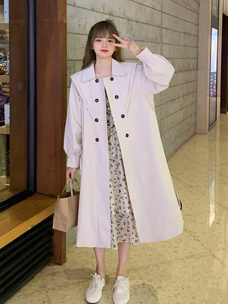 秋季韩版2020新款设计感翻领双排扣宽松中长款流行长袖风衣外套女-可可家-