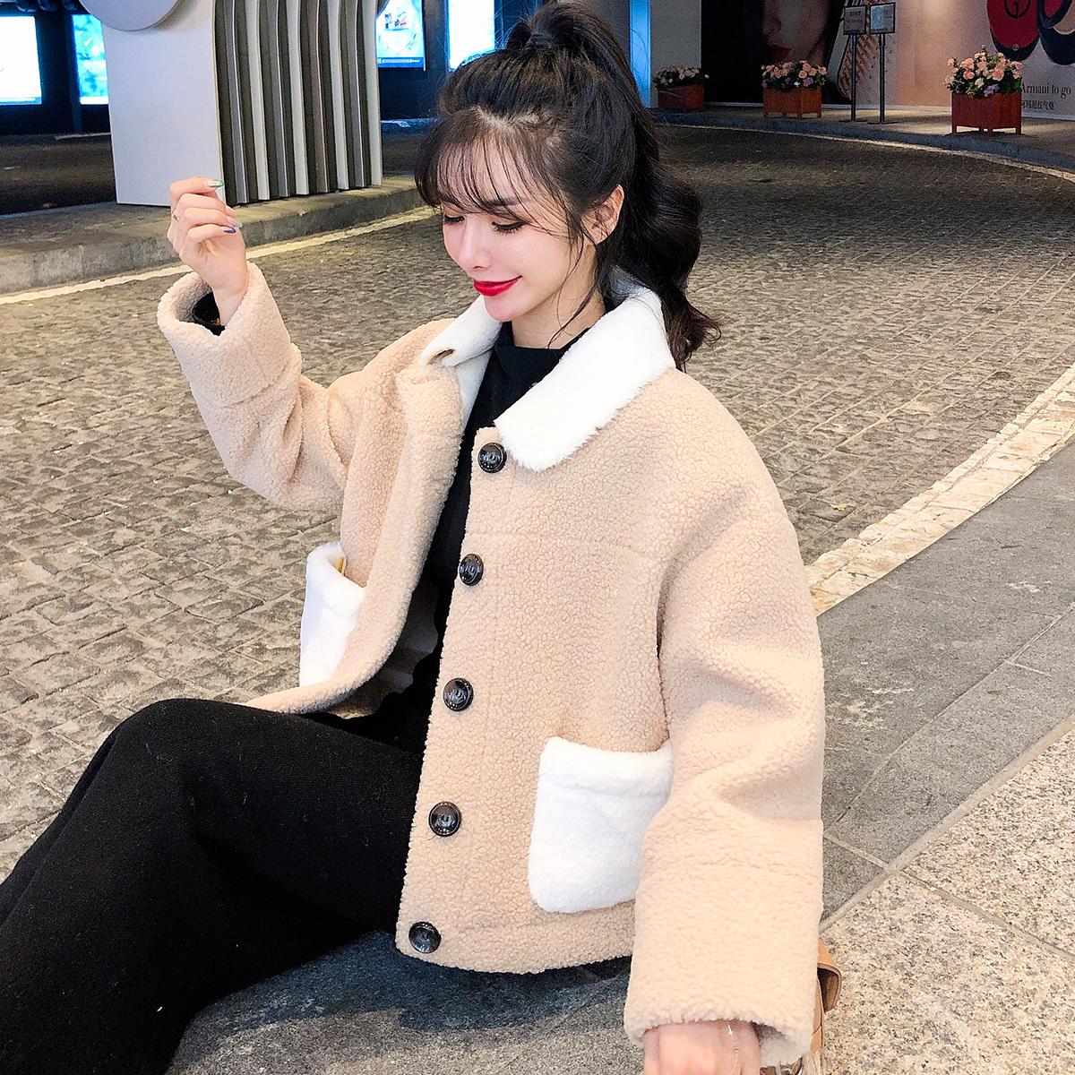 实拍现货新款羊羔毛外套女冬短款韩版羊毛羔皮毛一体羊羔绒 -