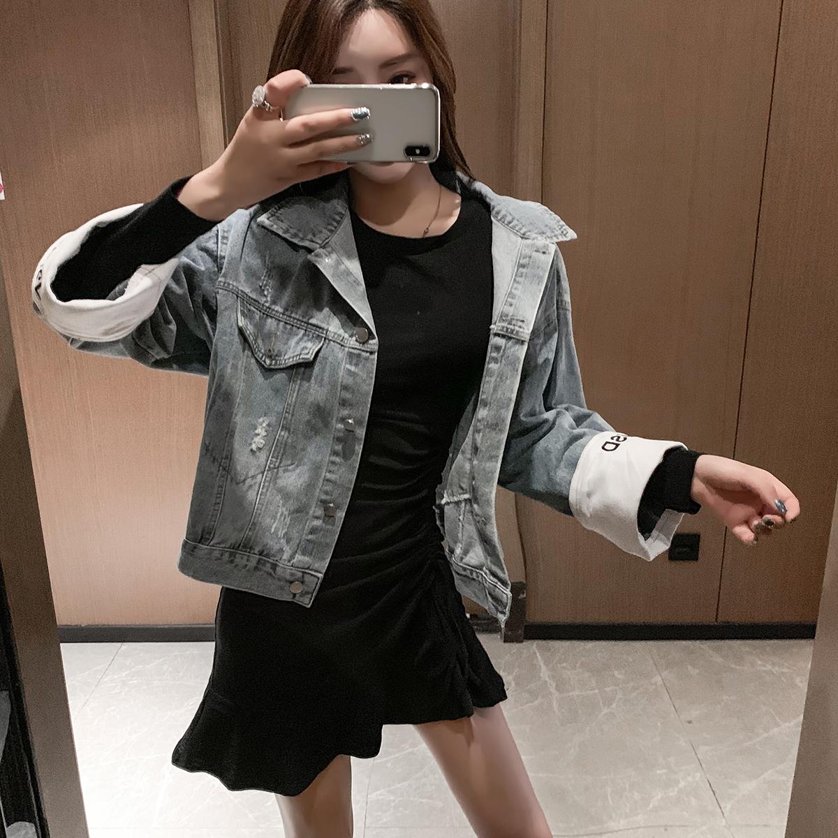 网红新款牛仔外套女韩版宽松bf字母刺绣破洞短款学生上衣 -