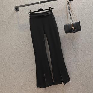 大码女装2020年秋季新款胖妹妹弹力裤子西裤女显瘦减龄气质喇叭裤图片