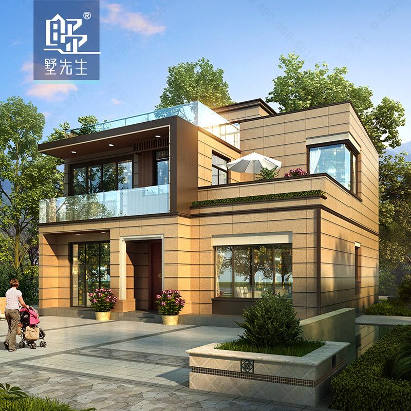 160平新农村简约别墅设计图纸两层乡村现代风格自建房经济型全套图片