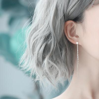 纯银耳环韩国气质长款吊坠星星流苏简约个性百搭耳饰品网红耳坠女