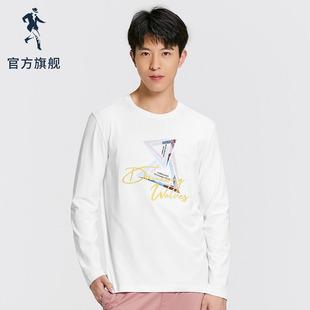 与狼共舞长袖T恤男2020春季新款男装韩版潮流印花男士上衣圆领T恤