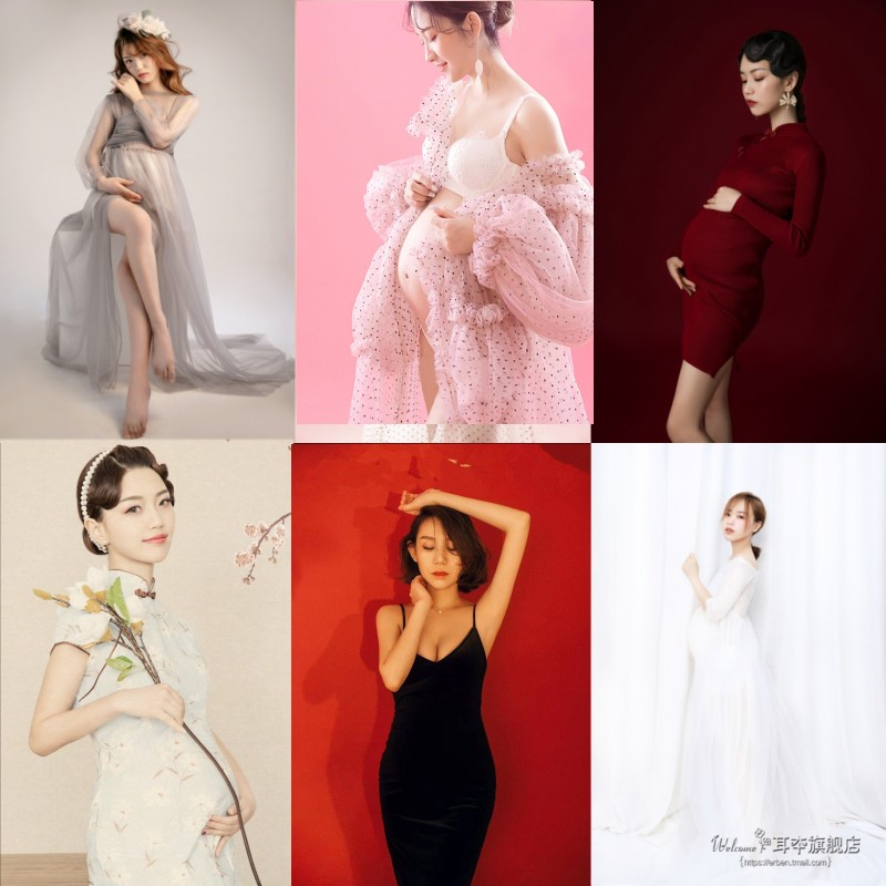 新款影楼孕妇拍照摄影服装妈咪写真艺术照礼服唯美孕照孕妇装衣服