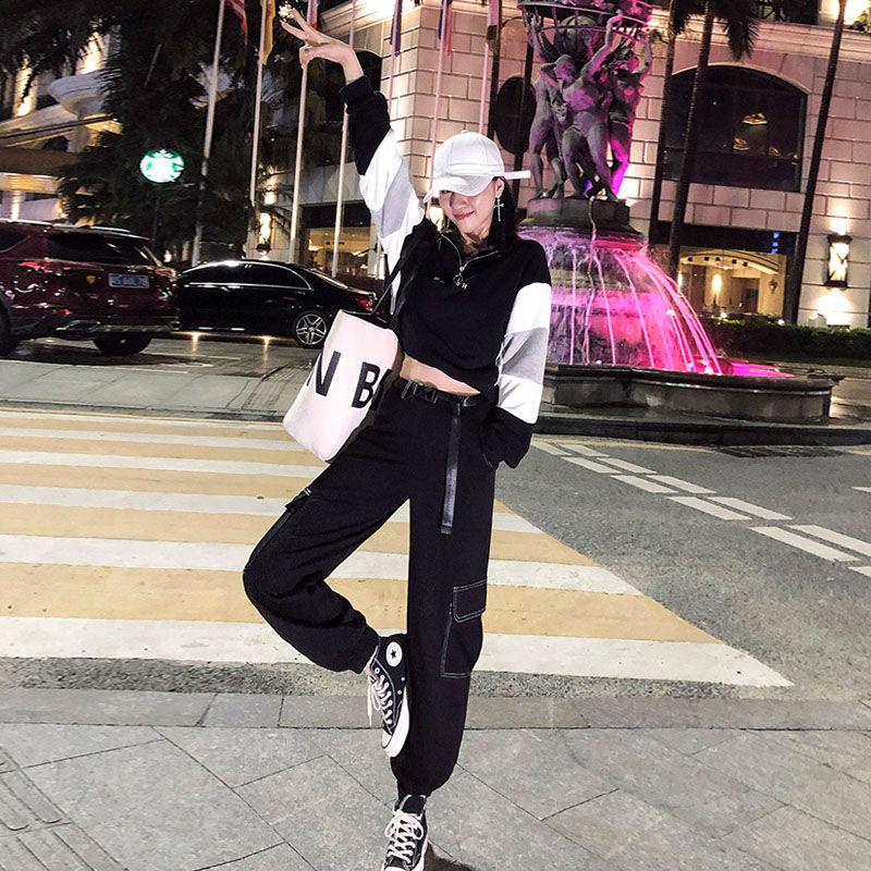 工装裤套装女潮秋冬季宽松bf韩版显瘦高腰帅气爵士街舞嘻哈两件套