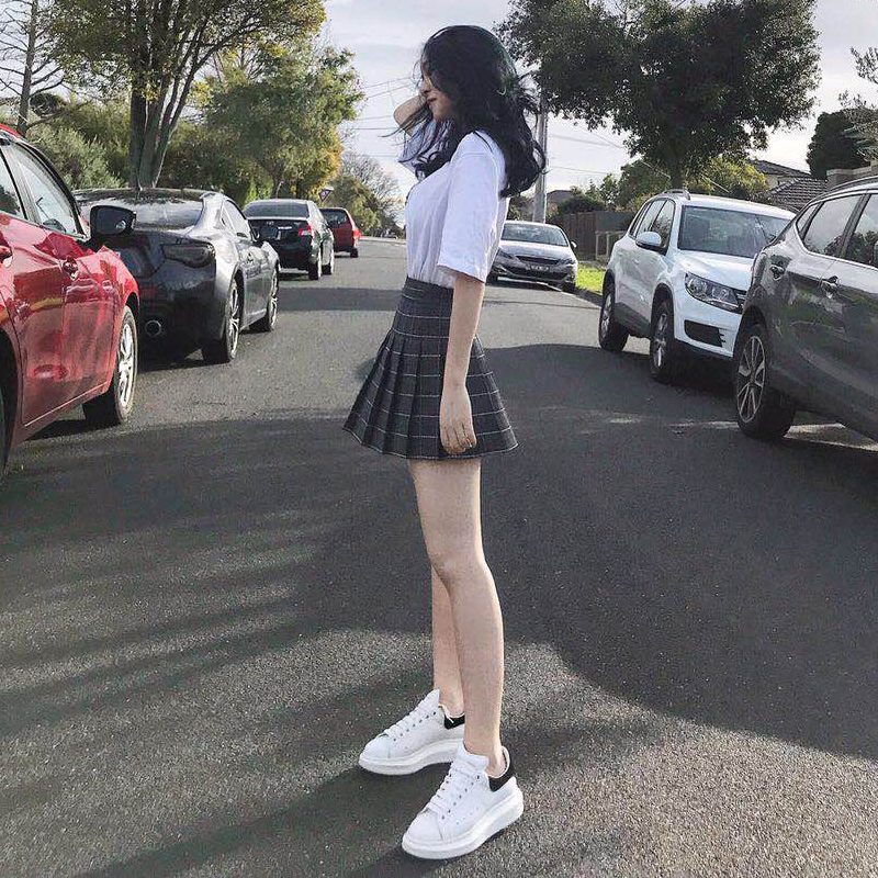 格子百褶裙女夏2019新款防走光黑色半身裙子a字高腰学院风短裙裤