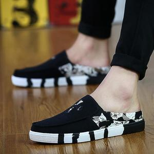 Summer casual Peas men's Baotou half slippers without heels lazy sandals summer youth canvas tide men's shoes