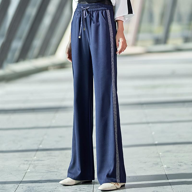 夏季薄款裤子女宽松坠感阔腿裤直筒高腰新款运动裤韩版显瘦休闲裤
