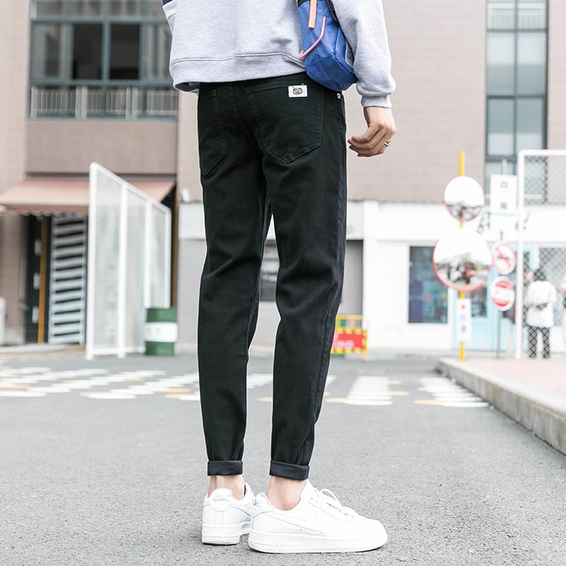 秋冬季黑色牛仔裤男加绒厚修身小脚青少年长裤子学生弹力韩版潮流