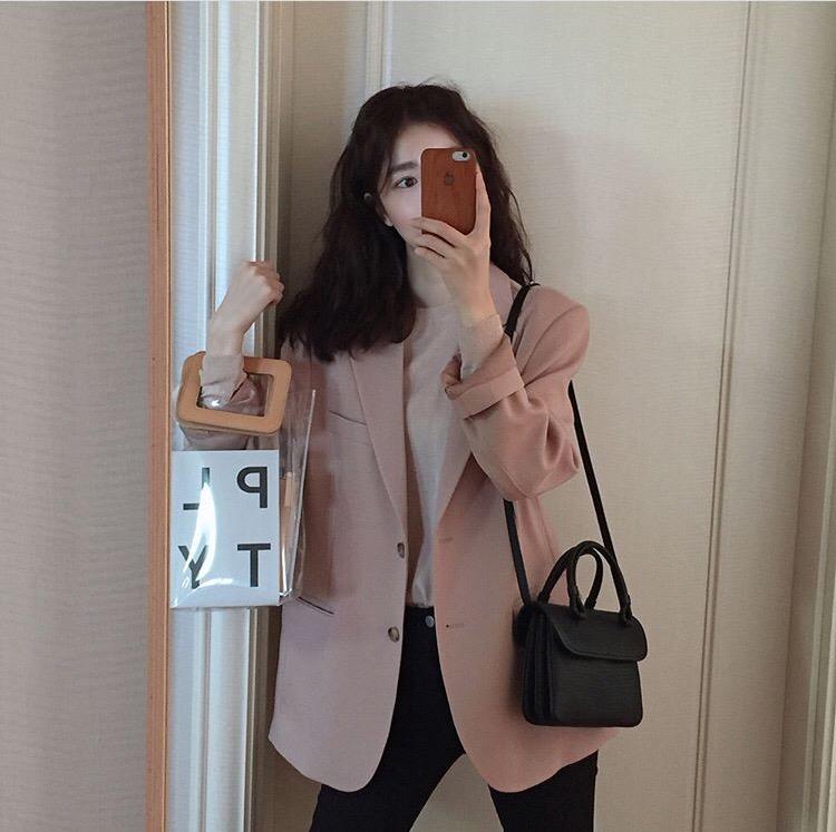 现货韩国新款火爆超复古温柔气质西装外套夹克女-小七服饰-