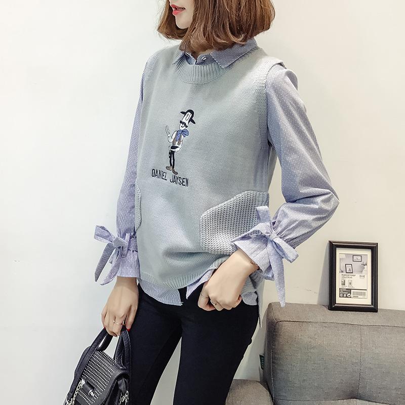 刺绣针织衫女学生2017秋季新款百搭背心马甲无袖套头单件毛线上衣