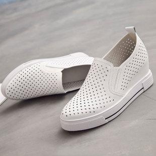 内增高小白鞋女真皮镂空夏季透气新款增高一脚蹬女鞋坡跟休闲百搭