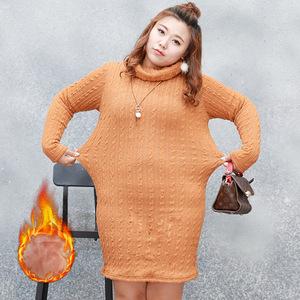 包邮大码女装250斤 加厚加绒保暖毛衫 中长款冬季胖mm高领毛衣497