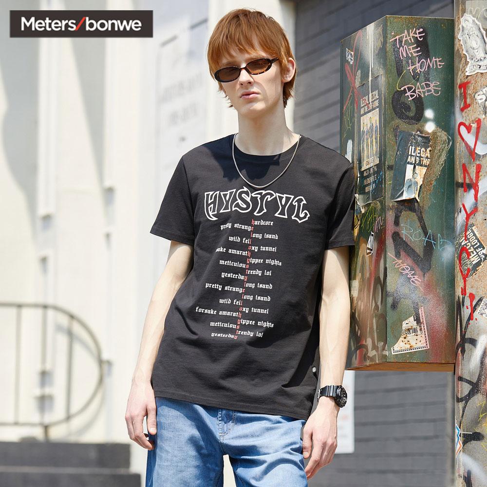 美特斯邦威t恤男短袖潮流夏季哥特风ins字母印花圆领韩版纯棉体恤