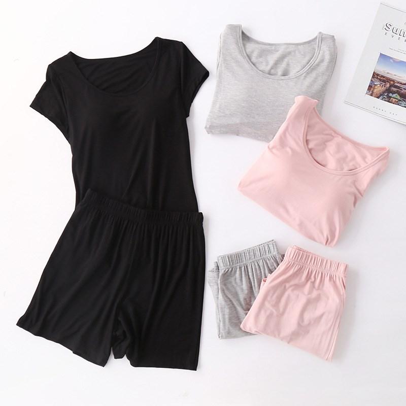 莫代尔女带胸垫短袖睡衣套装 bra-t一体免文胸半袖宽松短裤家居服