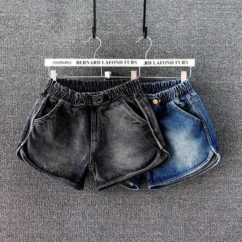 新款牛仔短裤女宽松大码松紧腰夏季热裤黑色显瘦韩版中腰阔脚裤潮