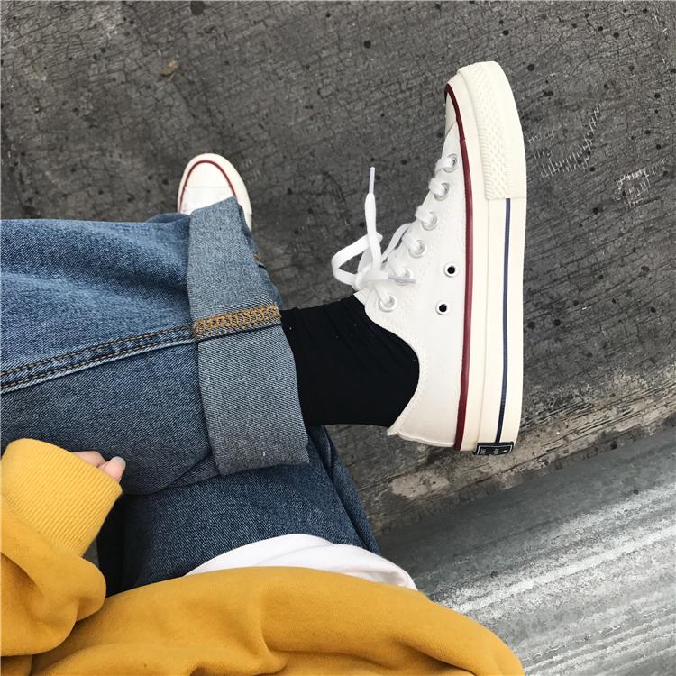 韩版ulzzang原宿帆布鞋百搭ins街拍小白鞋女学生港味复古情侣板鞋