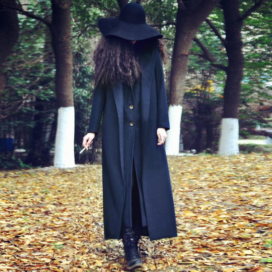 AYAH秋冬新款女装欧美双面呢宽松超长款西装领呢