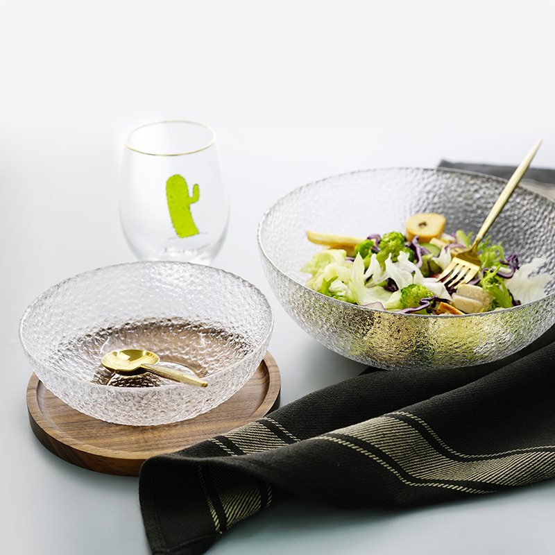 日子里 冰凝日式锤目纹玻璃碗沙拉碗早餐碗创意家用水果碗小吃碗-日子里生活铺-12月