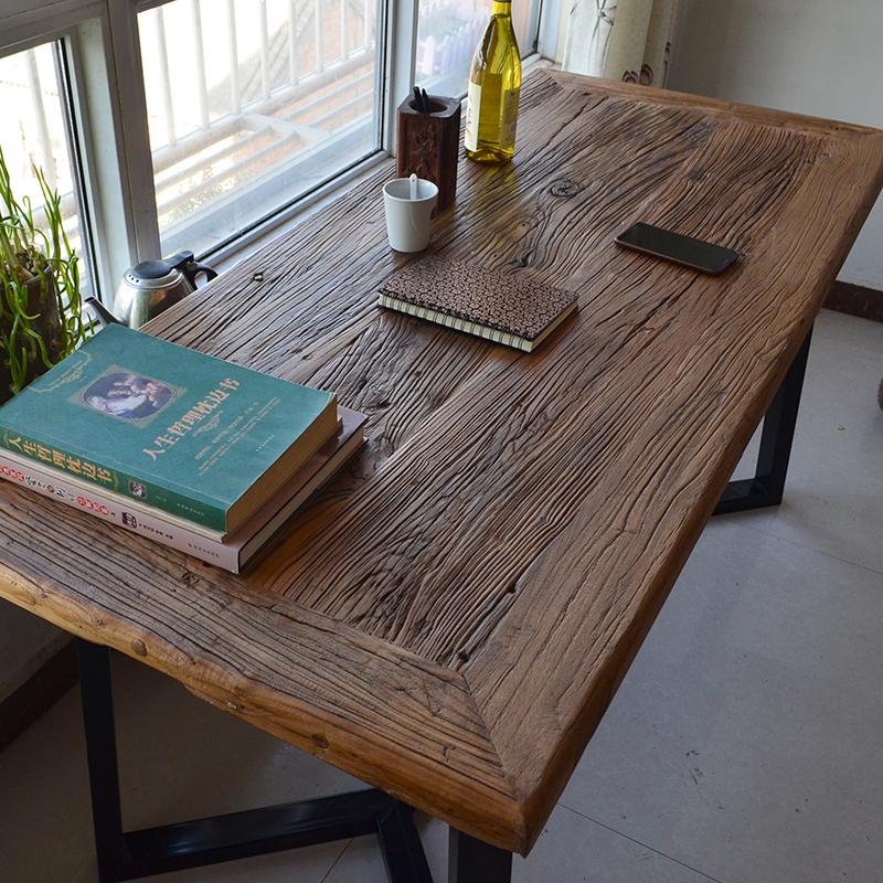 老榆木餐桌铁艺书桌茶桌家用实木民俗桌椅老门板风化旧木板吧台
