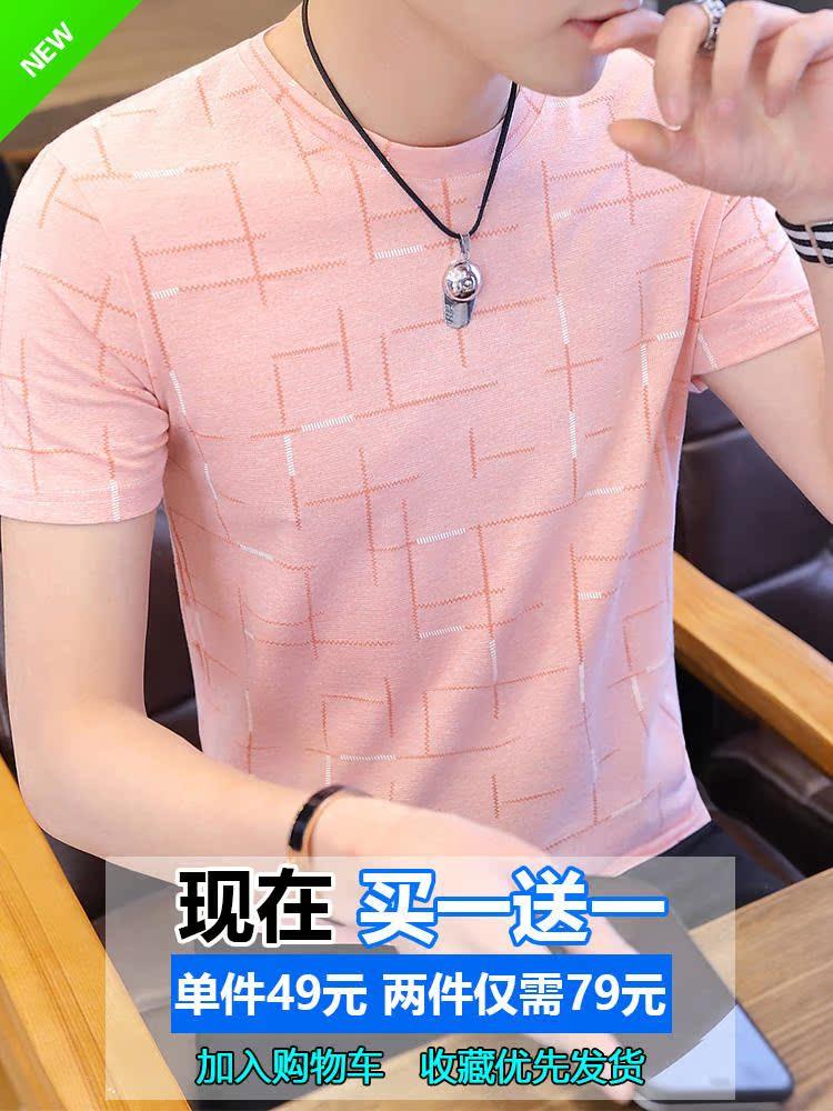 男士冰丝短袖T恤2019新款潮牌圆领半袖潮流夏季体桖夏装修身衣服