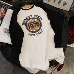 EJ韩国字母1976做旧图案插肩袖长袖T恤裙  中长款T桖打底衫女春秋
