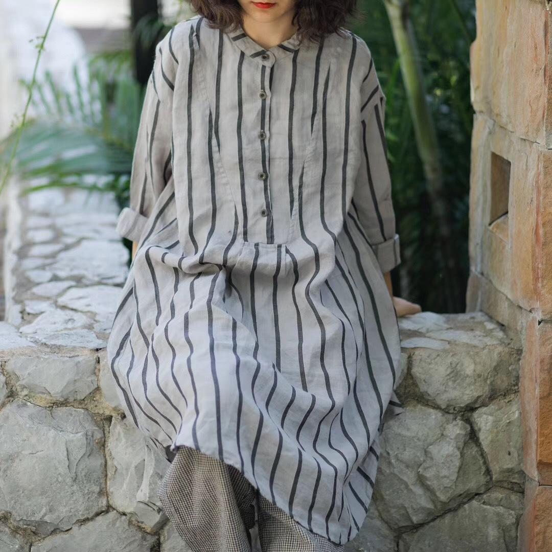 2019春原创文艺宽松条纹中长款麻料衬衫裙女套头亚麻衬衣领连衣裙