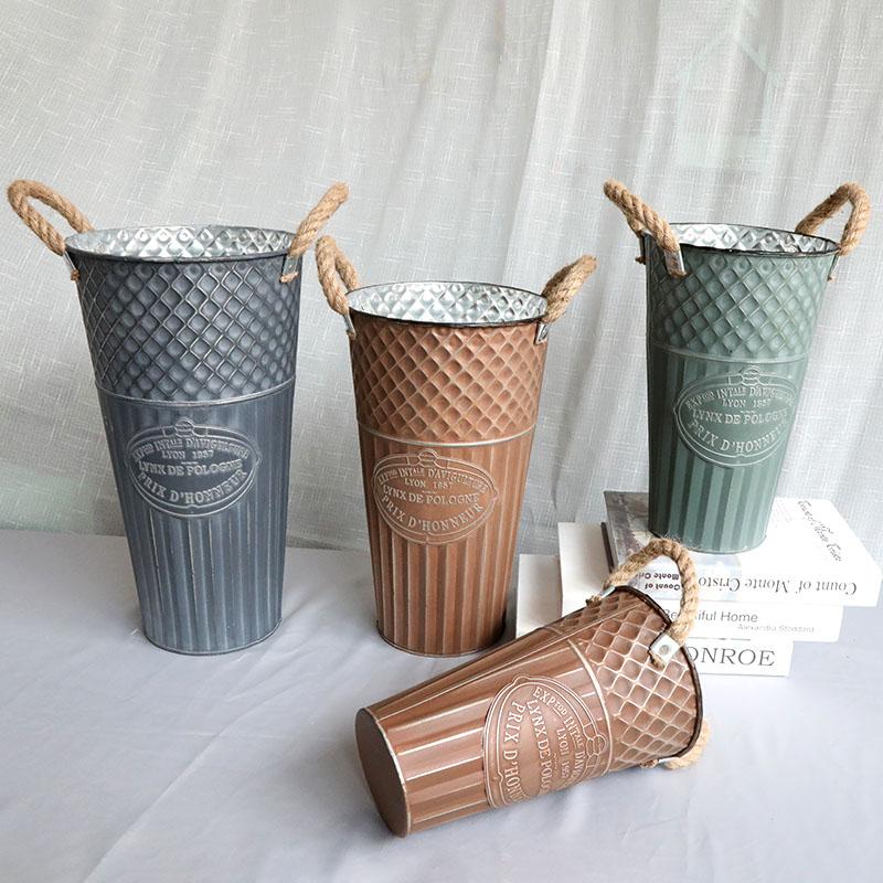 地润做旧铁桶复古干花花桶花瓶铁艺客厅摆件花店装饰花器欧式美