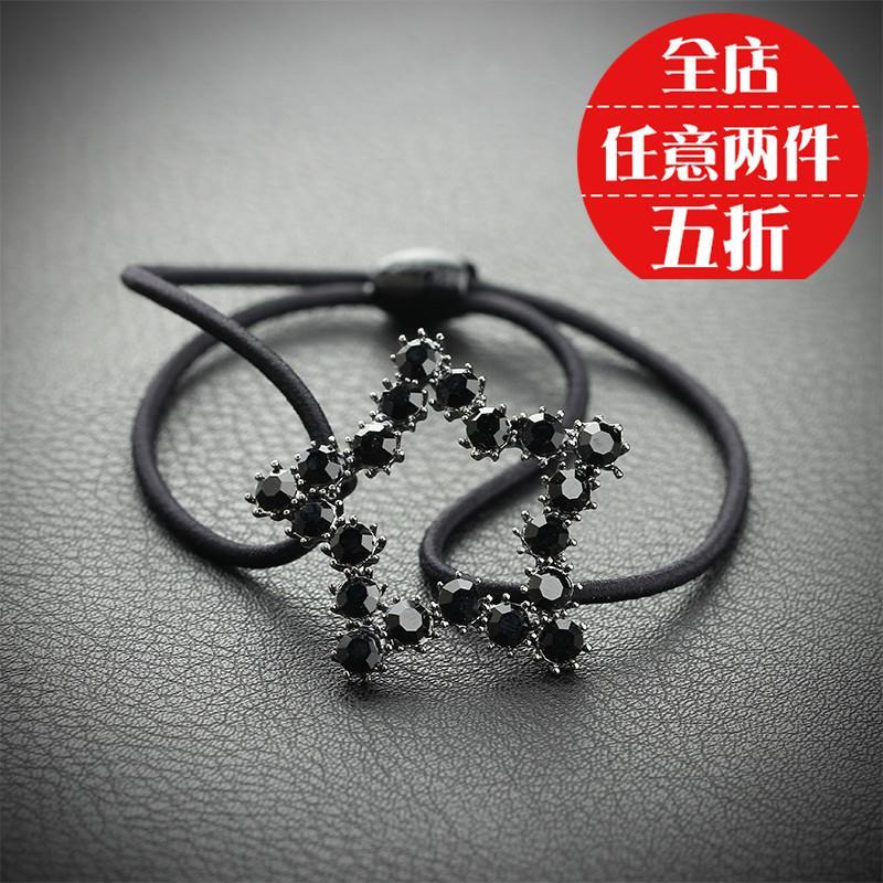 韩国星星头绳金属圆环镂空发圈简约气质水晶镶钻成人百搭皮筋头饰