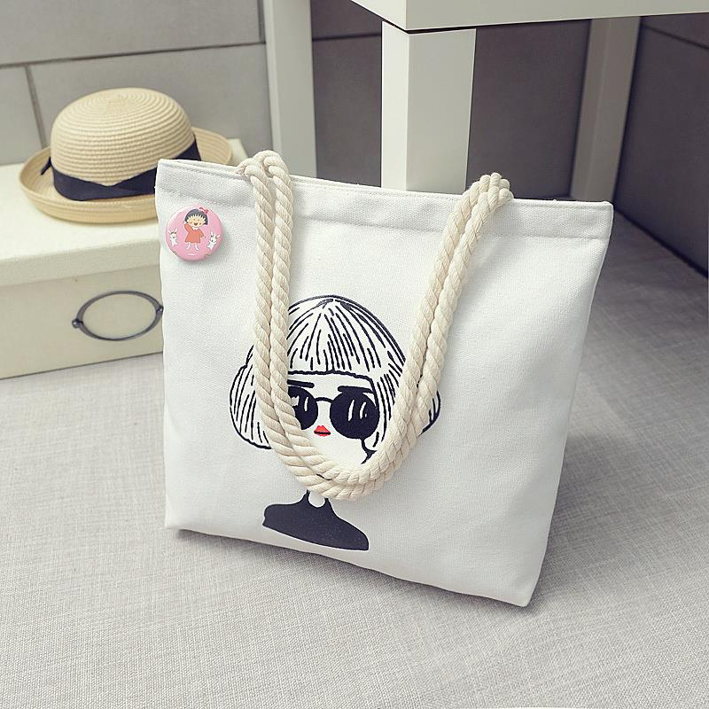 韩版女单肩帆布包手提大容量ins环保简约学生文艺小清新购物袋子